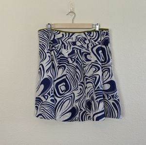 CAbi Blue Swirl Graphic Fit & Flare A-line Skirt